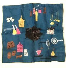 Lot of 2 Blue, Gray Pat Prichard Vintage Handkerchiefs - Tea, Coffee, Cookies