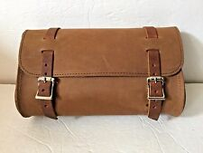 """New genuine Leather Motorcycle Fork Round Tool Pouch 9""""x 6x 3 made in the USA"""