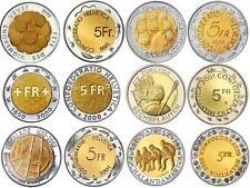 SWITZERLAND ALL 6 COINS 5 FRANCS 1999-2003 BIMETALLIC UNC