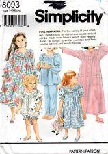 Simplicity Sewing Pattern 8093 Girls' Nightgown robe Long Short Pajamas Size 3-6