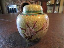 VINTAGE Chinese Cloisonne Ginger jar  ~ Pink Cherry Blossoms ~ Lovely details