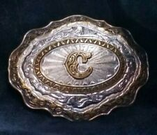 """LOOK"" Vintage Crumrine Letter Initial ""C"" Brass over Bronze Belt Buckle  K"
