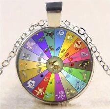 Pokemon Eevee Evolution Wheel Cabochon Necklace Pendant Silver US Seller