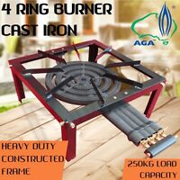 IGNITE 4 Ring Cast Iron Wok Burner LPG Gas Heavy Duty Stand