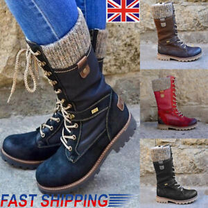 Womens Mid Calf Lace Up Boots Ladies Army Combat Military Biker Flat Shoes Size