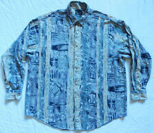 Gray Blue Geometric Long Sleeve Button Down Shirt - XL Mens Psychedelic Unique