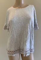 Gently Worn Ann Taylor Loft Grey Heather Crochet Trim Short Sleeve Blouse Sz M
