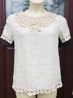 Elena Baldi Italy Womens Top Blouse Size M Cream Tan Ivory Linen Lace Fringe