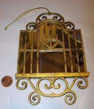 antique gold silver mirror birdcage bird cage Christmas Tree Ornament 7x4 *