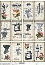 Stile vintage etichette x 12 Scrapbooking Cardmaking CORSETTO PARIS ROSE script per cucire