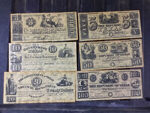 Republic of Texas Reproduction Currency Mixed Lot Weathered