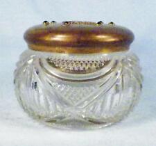 Antique Glass Powder Jar Brass Enamel Lid Green Rhinestones Drapes Diamonds