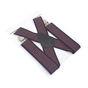 50mm Braces Elastic Wide Durable Trouser Stripe Suspender Heavy Duty Unisex