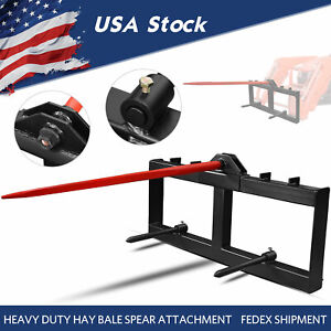 """Skid Steer 49"""" Hay Bale Spear Attachment Heavy Duty Tractor Bale Handling Hitch"""
