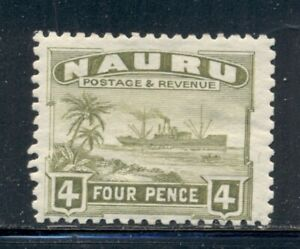 NAURU SG32A MH 1924-34 4p olive grn Freighter rough surfaced Cat$12