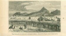 Village Khond Meriah Mount Aceh Indonesia GRAVURE OLD PRINT 1868