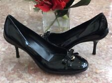 New Gucci black Patent Leather GG Logo Bow Heel Pumps Sz 7.5 B #206098 MSRP $650