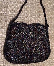 Black Beaded Women Flower Evening Shoulder Handbag