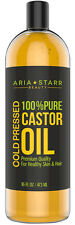 Aria Starr Castor Oil Cold Pressed 100% Pure For Eyelashes, Eyebrows, Skin, Face