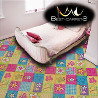 CHILDREN'S CARPET 'BUTTERFLY' Kids Play Area Bedroom, Fun Rug, flowers ANY SIZE