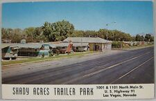 1950's Vintage Postcard Shady Acres Trailer Park North Main Las Vegas, NV