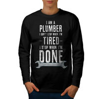Wellcoda Plumber Stop Mens Long Sleeve T-shirt, When Done Graphic Design