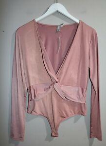 ASOS Brand Blush Jersey Twist Front Long Sleeve Bodysuit Size 14 BNWT #TD78