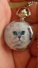 white cat mini necklace pendant pocket watch vintage style chain