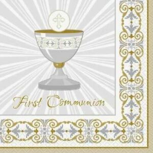 112 Pieces Gold & Silver First Communion Lunch Napkins Party Holy Communion USA