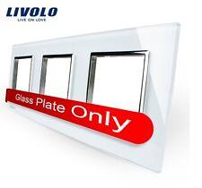 3 Fach Glas Rahmen Weiß für Livolo Einsätze Steckdose TV SAT USB TEL LAN