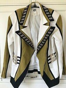 IIF Jacket Vtg 80's Womens Sz L Asymmetrical Moto Style Zip Gold Tone Chains