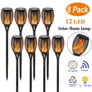 Solar Power 12 LED Flame Lighting Flickering Tiki Torch Garden Yard Lamp Outdoor