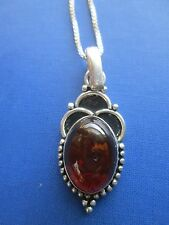 vintage AMBER PENDANT NECKLACE Sterling mount & chain