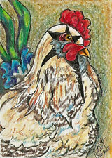 chicken Rock Star Rooster ACEO PRINT EBSQ Kim Loberg Bird mini Art chick Fowl