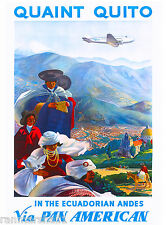 Ecuador Ecuadorian Andes Vintage South America Travel Advertisement Art Poster