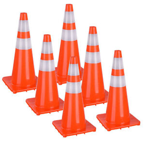 """28"""" Safety Traffic Cones Reflective Emergency Driveway Road Parking Cone 6 Pack"""