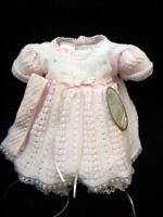 NWT Will'beth Pink Knit Lace Dress 3pc Preemie Newborn Headband Baby Girls