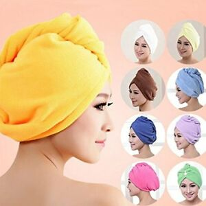 2X PACK LONG HAIR WRAP HEAD TOWEL TURBIE TURBAN TWIST DRYING CAP HAT LOOP BUTTON