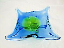Vintage Chribska sommerso art glass bowl blue and acid green 70s