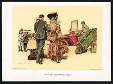 1907 Antique Howard Chandler Christy Girl Victorian Fashion Motor Car Art Print