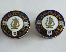 Norway Normennenes Singing Society 10 & 15 Year Lapel Pins 10k Solid Gold Tops