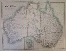 Australia or Oceania, Old Original Antique Map 1891, Sumatra, Atlas, Large
