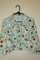 Body Central Floral Jean Denim Jacket Orange/Teal/ Olive Green Colors NWT