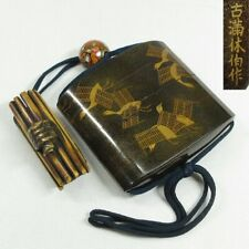 D448: High class old Japanese lacquer ware pillbox INRO with MAKIE by great KOMA