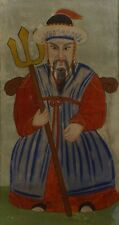 Very Rare Korean 19th Century Shamanist Sitting General Holding Spear on Fabric
