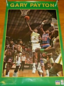 Vintage 1991 Starline Gary Payton Seattle Sonics Supersonics Rookie Poster