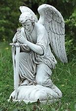 """13.25"""" Kneeling Male Angel with Sword Protector Outdoor Garden Yard Statue 40007"""