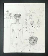 France HI Outsider Art Pen & Ink Painting Nude & Child Claude Vedel (EtJ)#71
