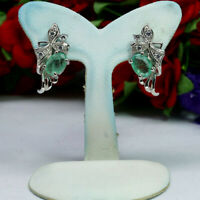 NATURAL 5 X 7 mm. GREEN EMERALD & WHITE CZ EARRINGS 925 STELRING SILVER