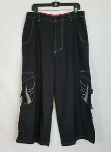 Vintage GAT Jeans Baggy Mega Wide Leg Rave Skate Goth Nylon Pants Size 34 D215
